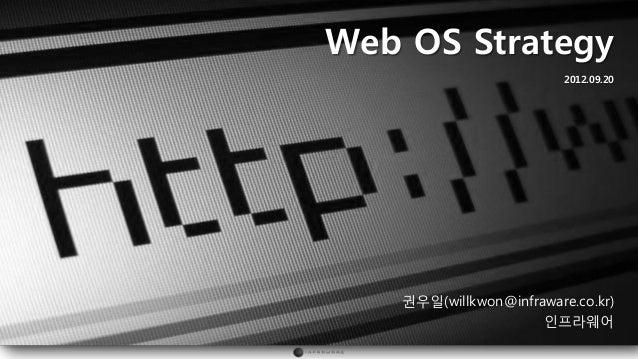 Web OS Strategy                         2012.09.20   권우일(willkwon@infraware.co.kr)                     인프라웨어