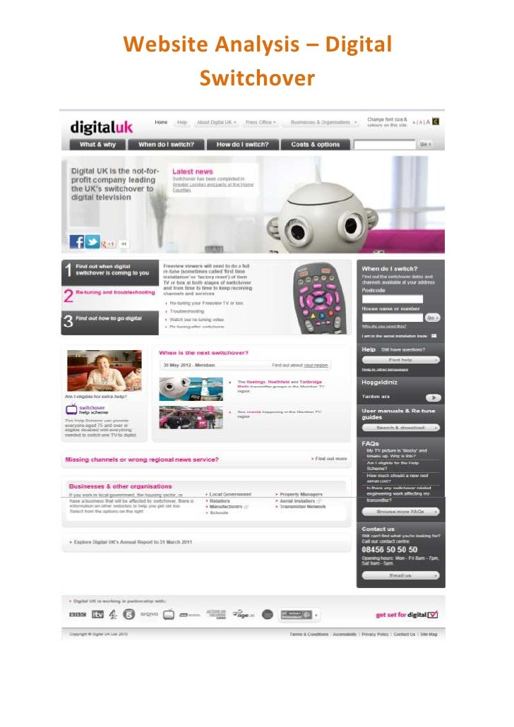 Website Analysis – Digital      Switchover