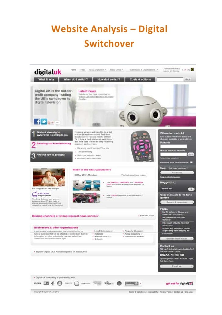 Webpage Analysis - Digital Switchover