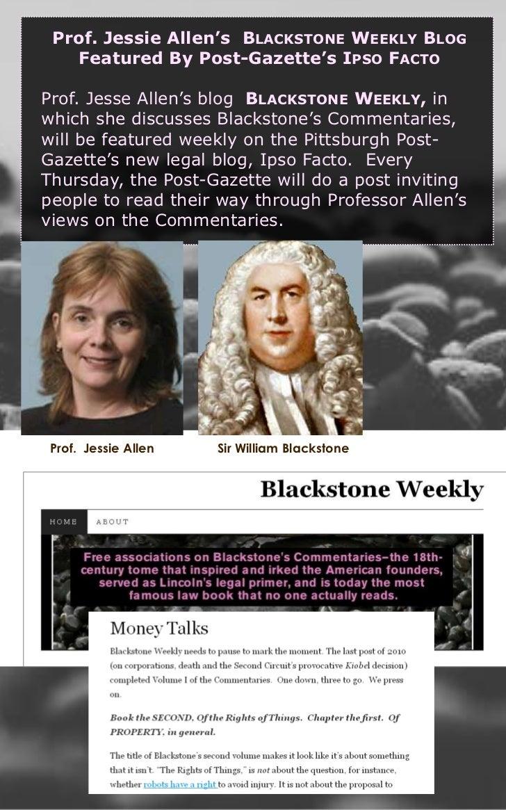 Prof. Jessie Allen's  Blackstone Weekly Blog <br />Featured By Post-Gazette's Ipso Facto<br />Prof. Jesse Allen's blog  Bl...