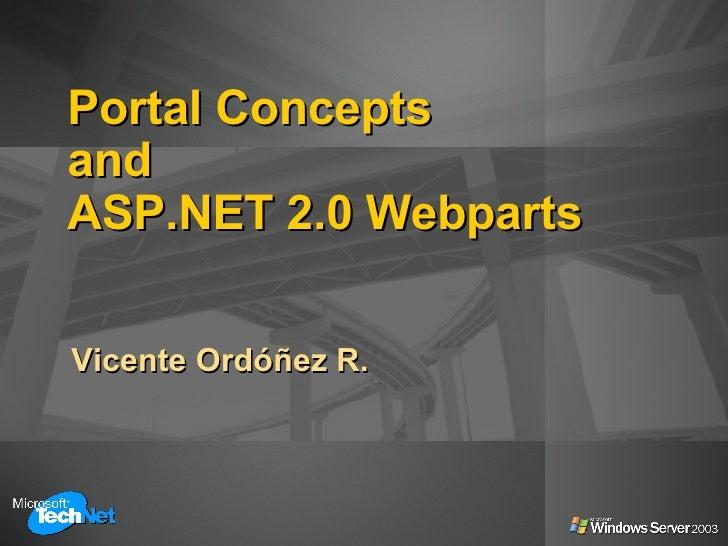 Portal Concepts and ASP.NET 2.0 Webparts Vicente Ordóñez R.