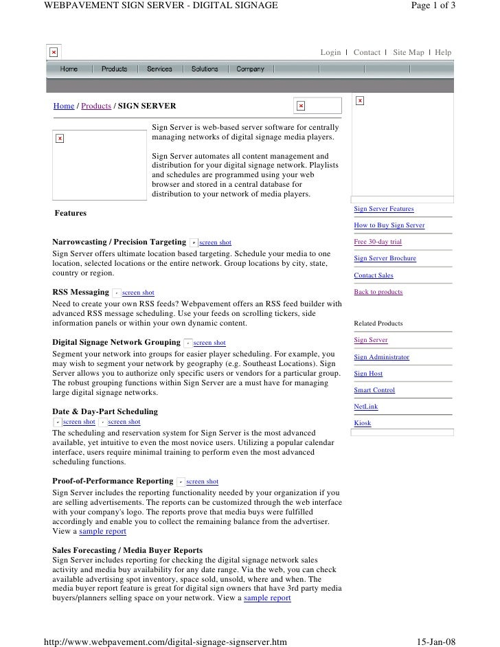 WEBPAVEMENT SIGN SERVER - DIGITAL SIGNAGE                                                                       Page 1 of ...