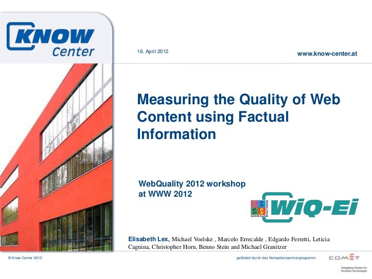 Measuring the Quality of Web Content using Factual Information