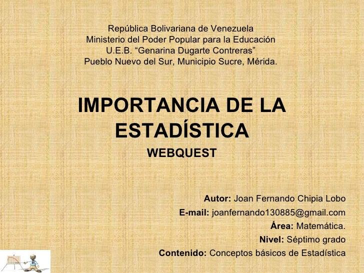 """República Bolivariana de Venezuela Ministerio del Poder Popular para la Educación U.E.B. """"Genarina Dugarte Contreras"""" Pueb..."""