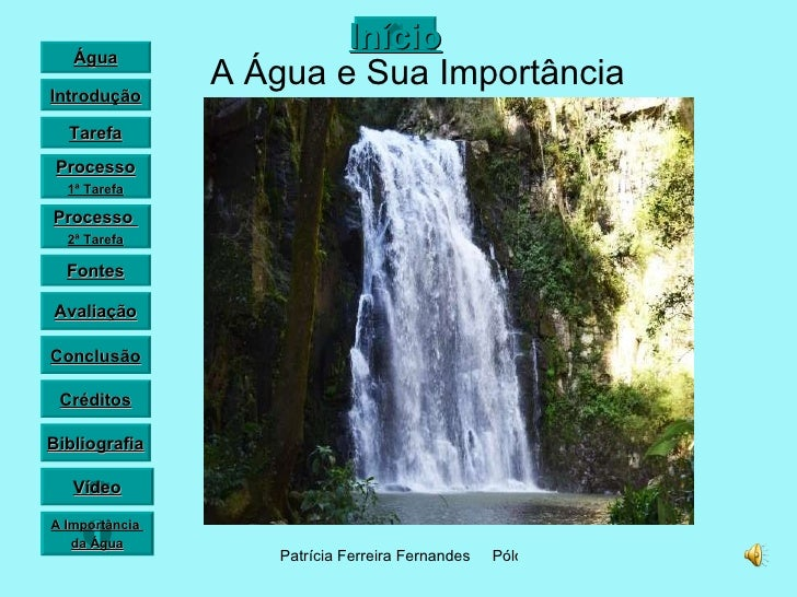 A Água e Sua Importância Vídeo Água Introdução Tarefa Processo 1ª Tarefa Fontes Avaliação Conclusão Créditos Bibliografia ...