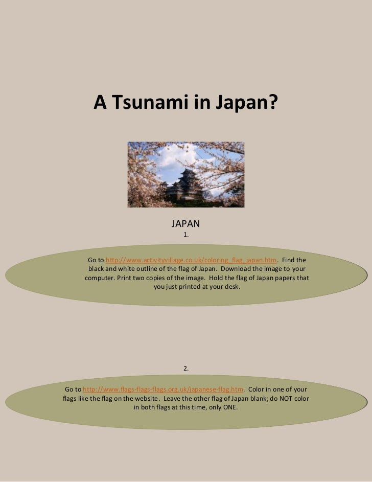 A Tsunami in Japan?                                     JAPAN                                         1.        Go to http...