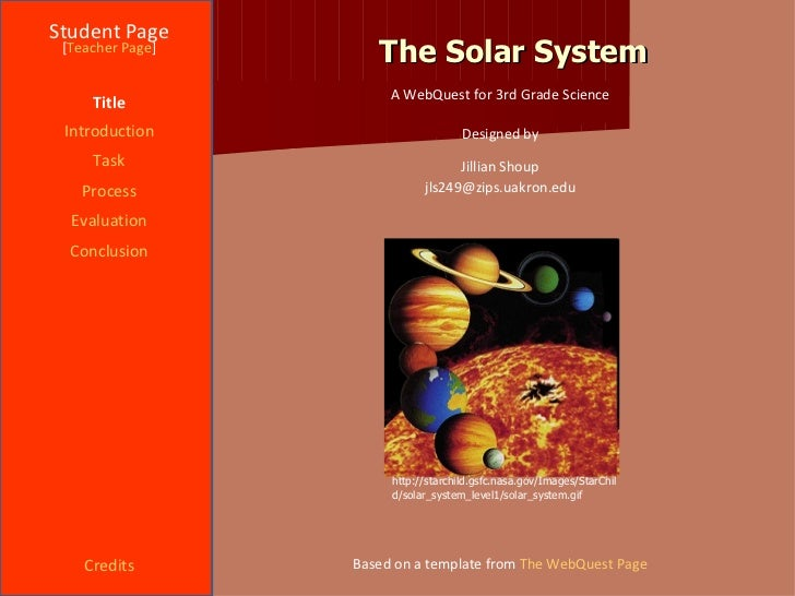 The Solar System Student Page Title Introduction Task Process Evaluation Conclusion Credits [ Teacher Page ] A WebQuest fo...