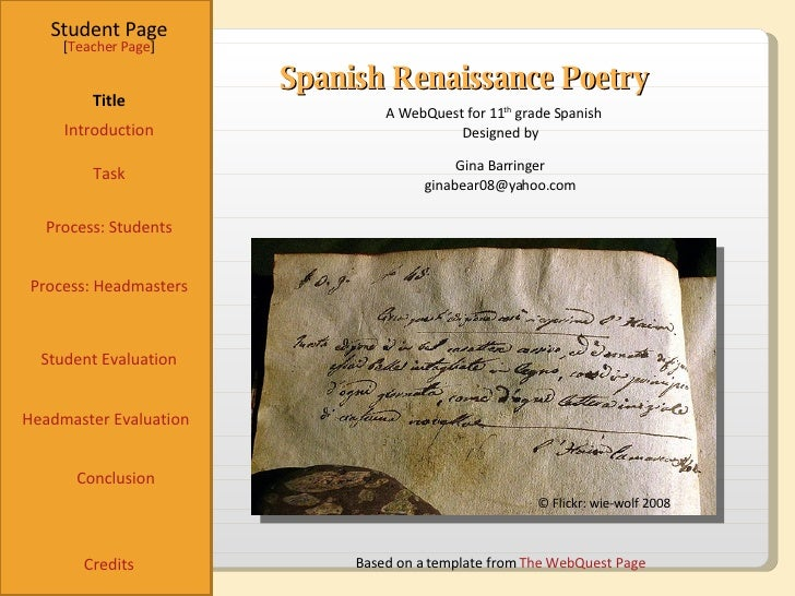 Spanish Renaissance Poetry Student Page Title Introduction Task Process: Students Student Evaluation Conclusion Credits [ ...