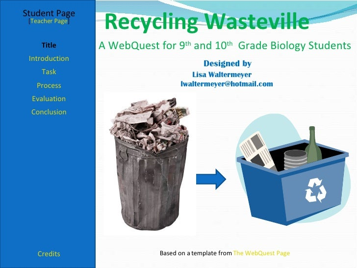 Recycling Wasteville Student Page Title Introduction Task Process Evaluation Conclusion Credits [ Teacher Page ] A WebQues...