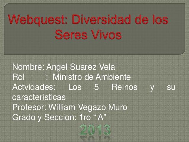 Nombre: Angel Suarez Vela Rol : Ministro de Ambiente Actvidades: Los 5 Reinos y su caracteristicas Profesor: William Vegaz...