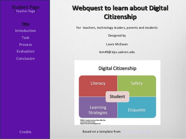 Student Page [Teacher Page]                  Webquest to learn about Digital                           Citizenship     Tit...