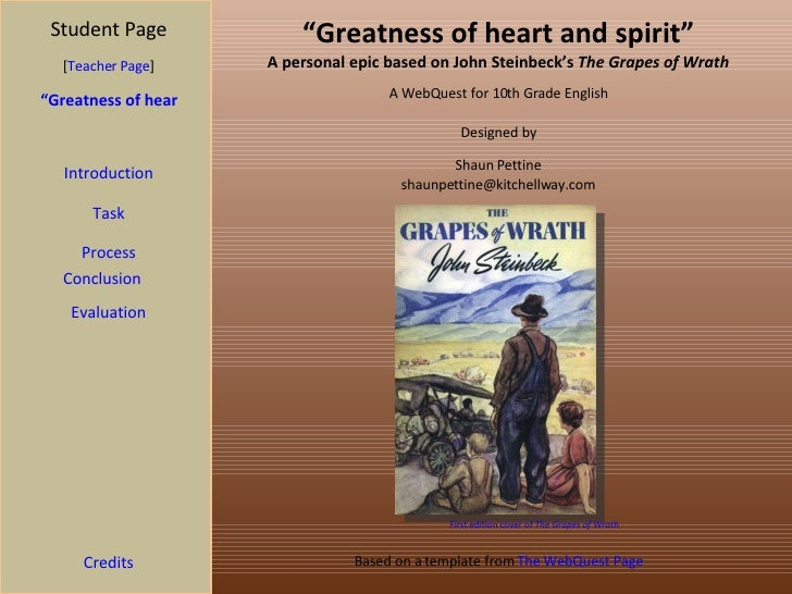 """"""" Greatness of heart and spirit"""" A personal epic based on John Steinbeck's  The Grapes of Wrath Student Page """"Greatness of..."""
