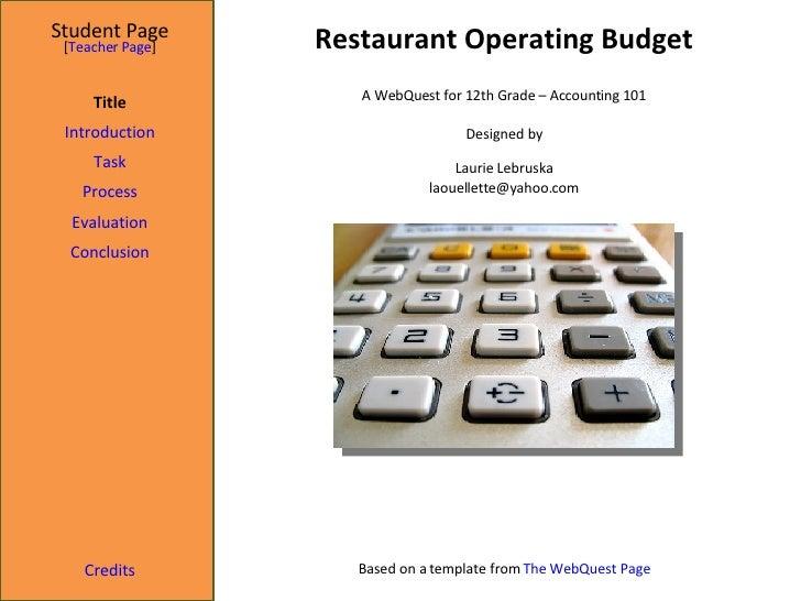 WebQuest - Operating Budget