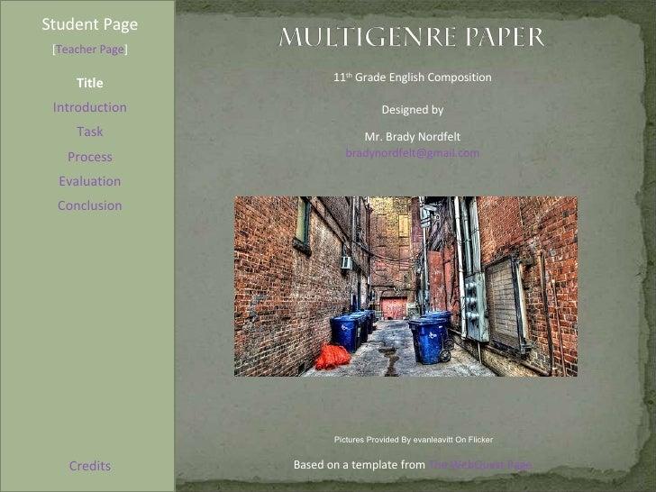 Blending genre altering style writing multigenre papers