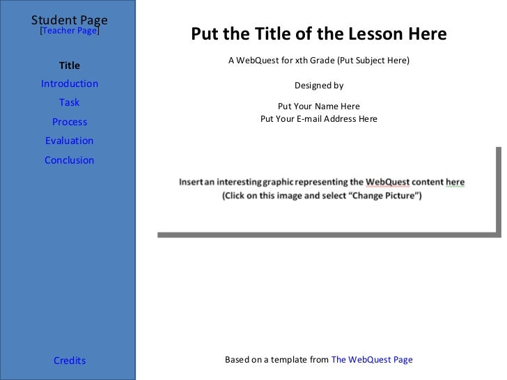 Put the Title of the Lesson Here Student Page Title Introduction Task Process Evaluation Conclusion Credits [ Teacher Page...