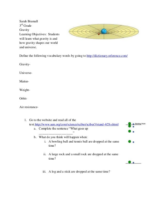 Sarah Bramall3rd GradeGravityLearning Objectives: Studentswill learn what gravity is andhow gravity shapes our worldand un...