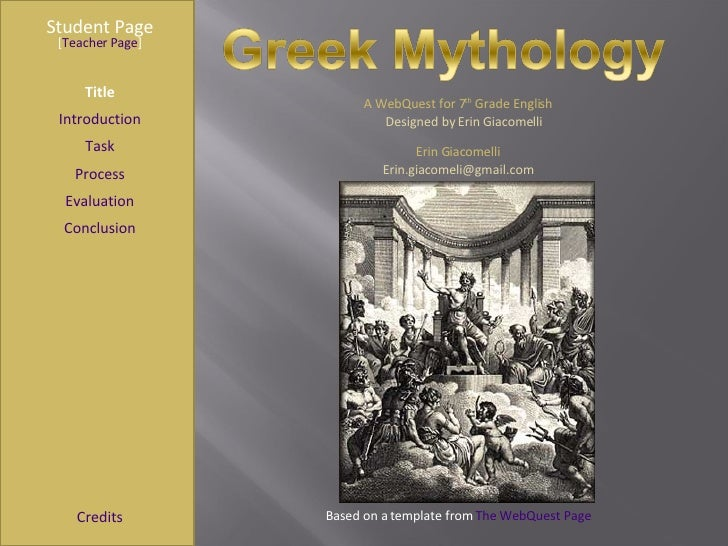Greek Mythology Webquest