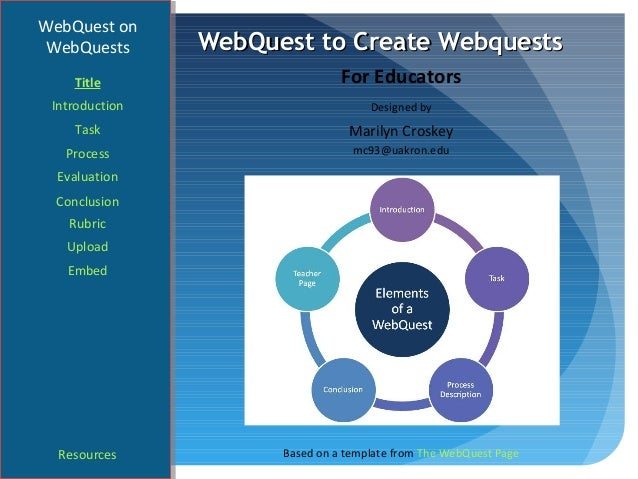 WebQuest onWebQuests       WebQuest to Create Webquests    Title                       For Educators Introduction         ...