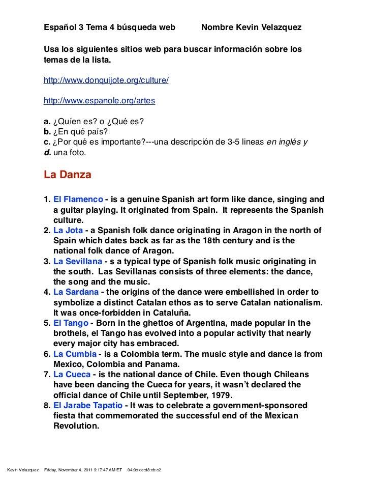 Español 3 Tema 4 búsqueda web                                Nombre Kevin Velazquez                  Usa los siguientes si...