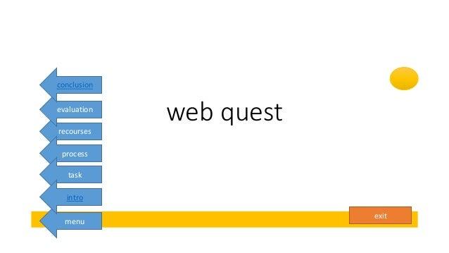 exit web quest menu recourses process task intro evaluation conclusion