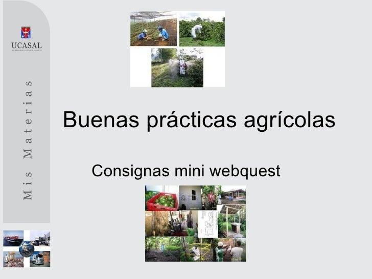 Buenas prácticas agrícolas  Consignas mini webquest