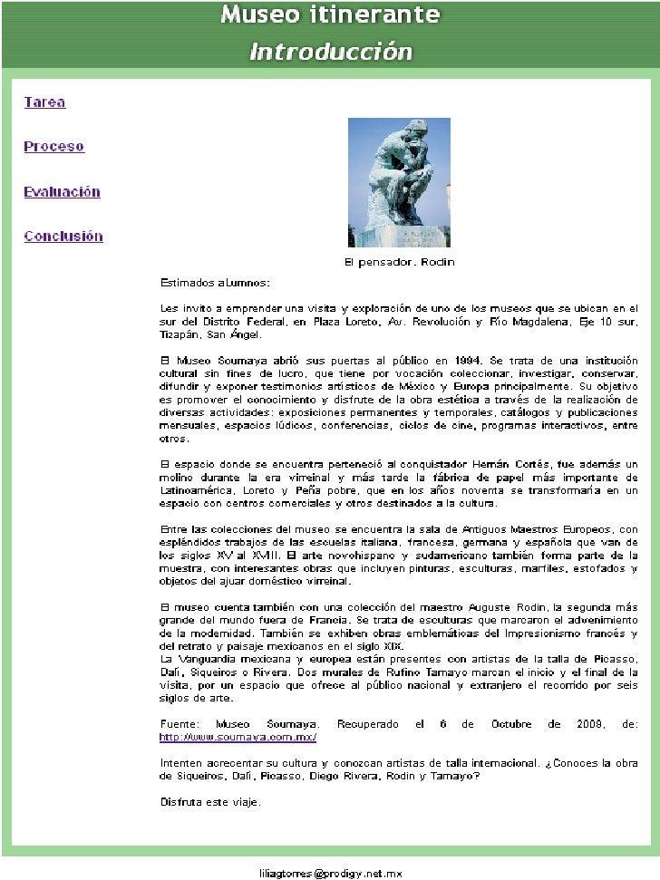 WebQuest museo itinerante, diapositivas con imágenes de internet