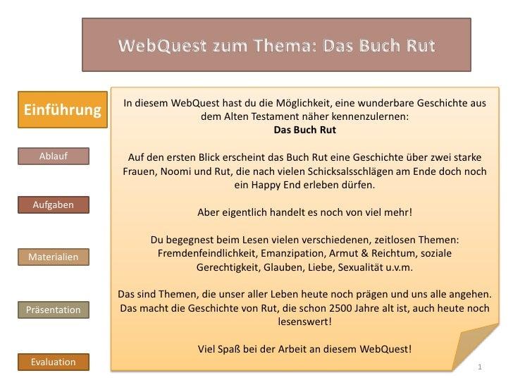 In diesem WebQuest hast du die Möglichkeit, eine wunderbare Geschichte ausEinführung                    dem Alten Testamen...