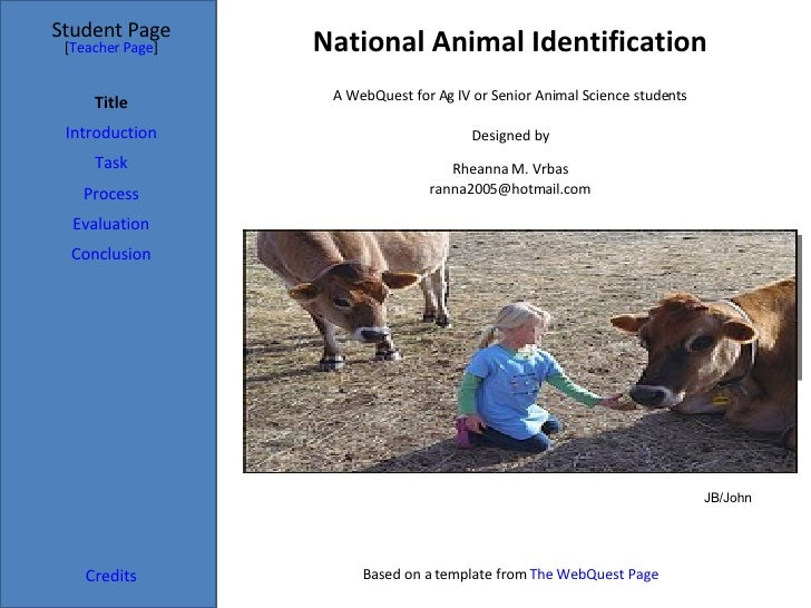 National Animal Identification Student Page Title Introduction Task Process Evaluation Conclusion Credits [ Teacher Page ]...