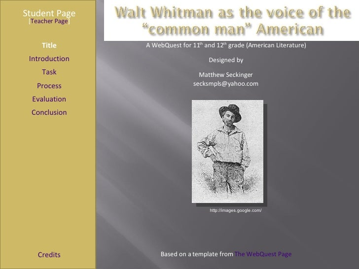 Walt Whitman WebQuest