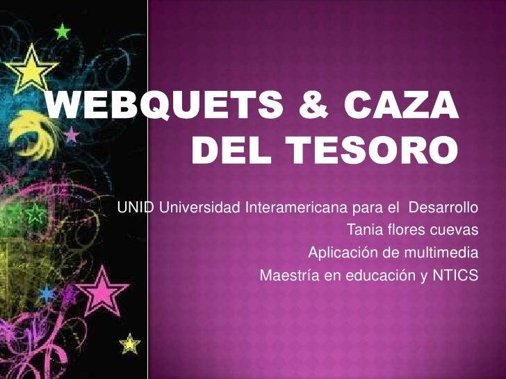Webquets & caza del tesoro<br />UNID Universidad Interamericana para el  Desarrollo<br />Tania flores cuevas<br />Aplicaci...