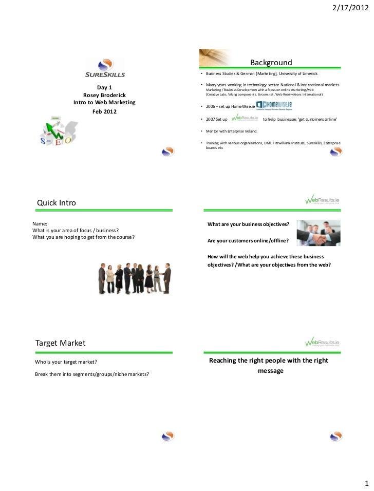 Web Results Key areas of Web Marketing