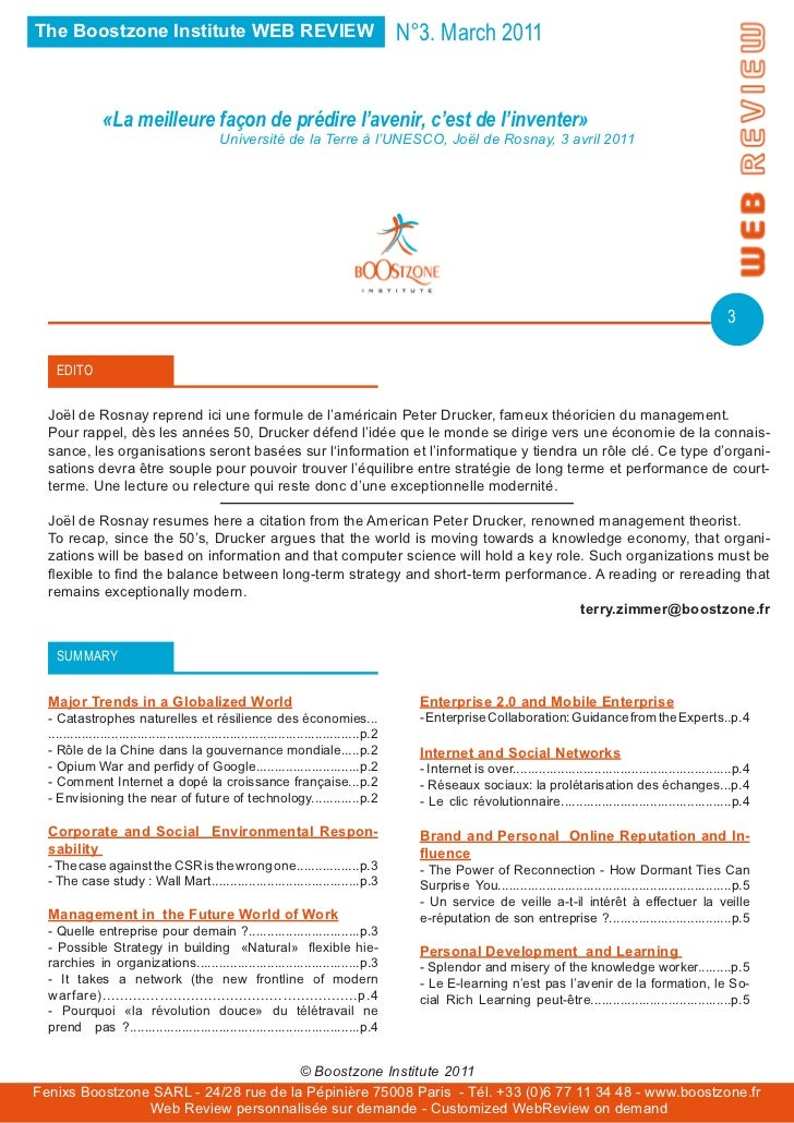The Boostzone Institute WEB REVIEW                                                          N°3. March 2011               ...