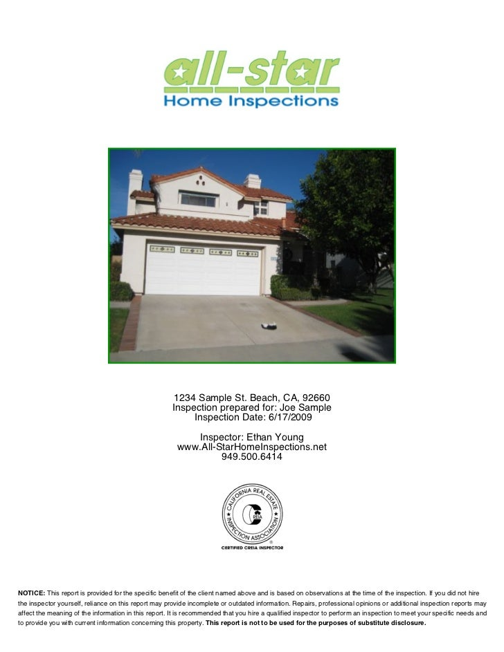 All-Star Home Inspections Sample Report