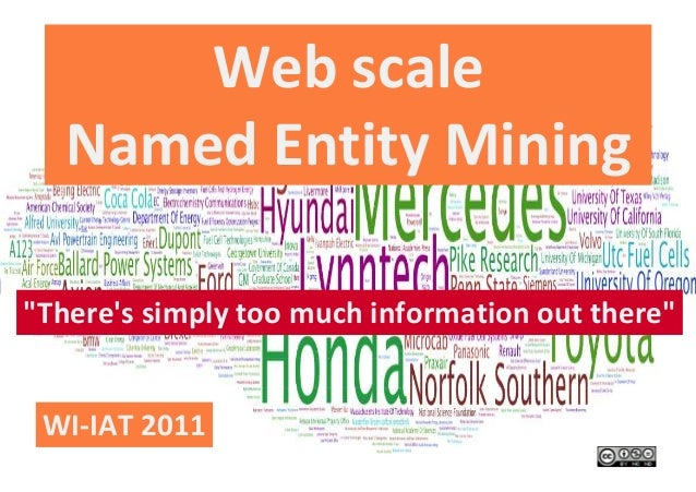 "Web scaleNamed Entity Mining""Theres simply too much information out there""WI-IAT 2011"