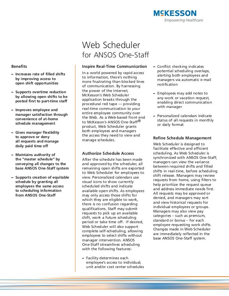 Web Scheduler                                    for ANSOS One-StaffBenefits                            Inspire Real-Time ...
