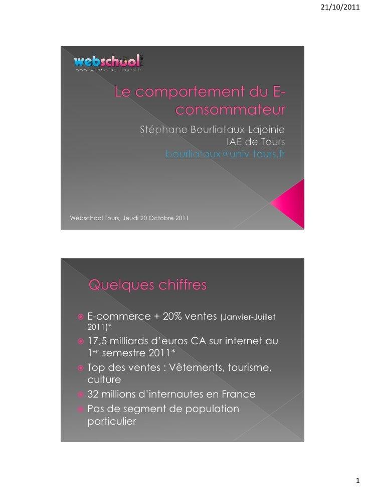 21/10/2011Webschool Tours, Jeudi 20 Octobre 2011     E-commerce + 20% ventes (Janvier-Juillet      2011)*   17,5 milliar...