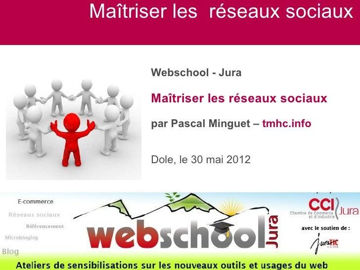 Maîtriser les réseaux sociaux      Webschool - Jura      Maîtriser les réseaux sociaux      par Pascal Minguet – tmhc.info...