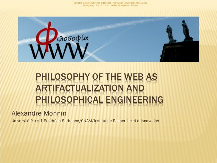 Consolidating networks of excellence - WebScience Montpellier Meetup.                                         Friday May 1...
