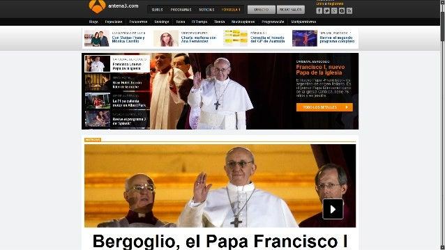 Webs de las tv informando sobre el nuevo papa