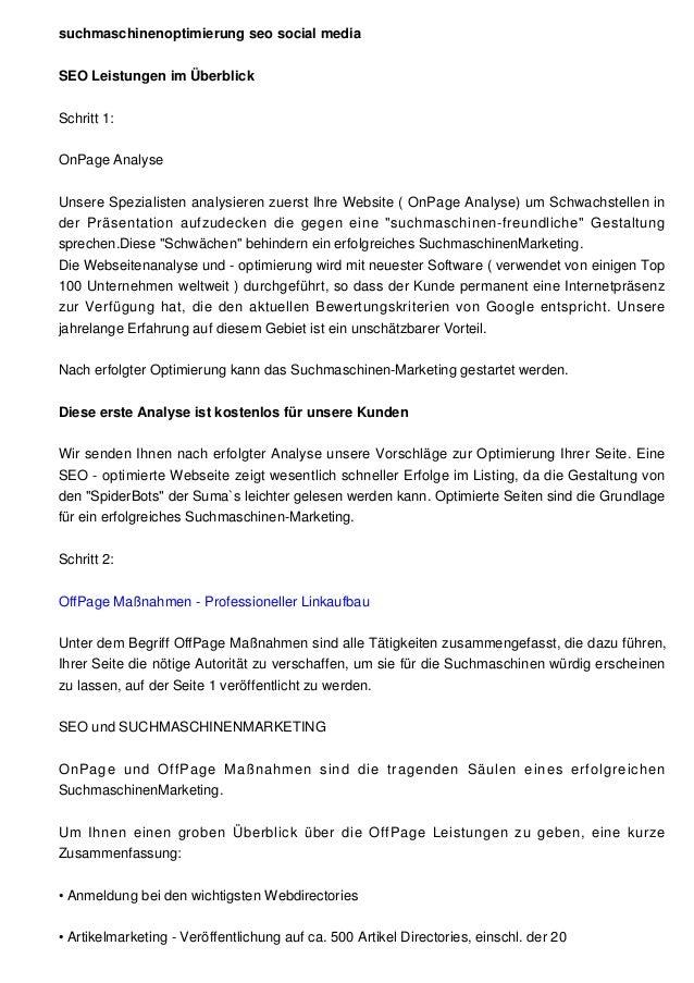 suchmaschinenoptimierung seo social mediaSEO Leistungen im ÜberblickSchritt 1:OnPage AnalyseUnsere Spezialisten analysiere...