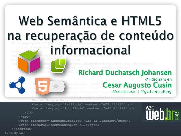 Web semântica e html5 na recuperação de conteúdo informacional