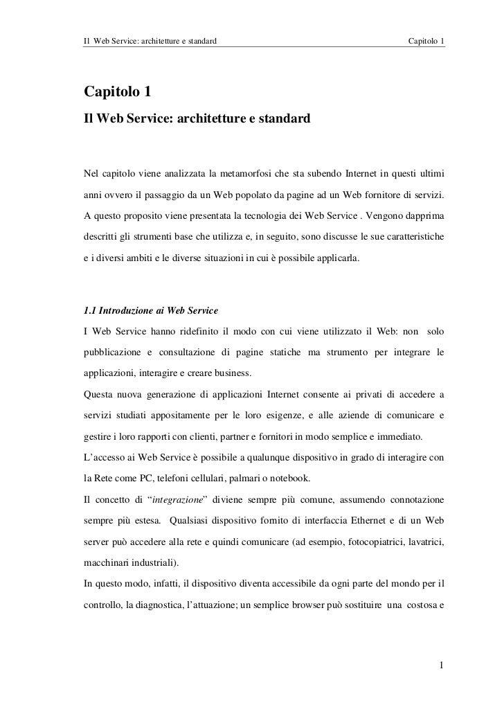 Il Web Service: architetture e standard                                            Capitolo 1Capitolo 1Il Web Service: arc...