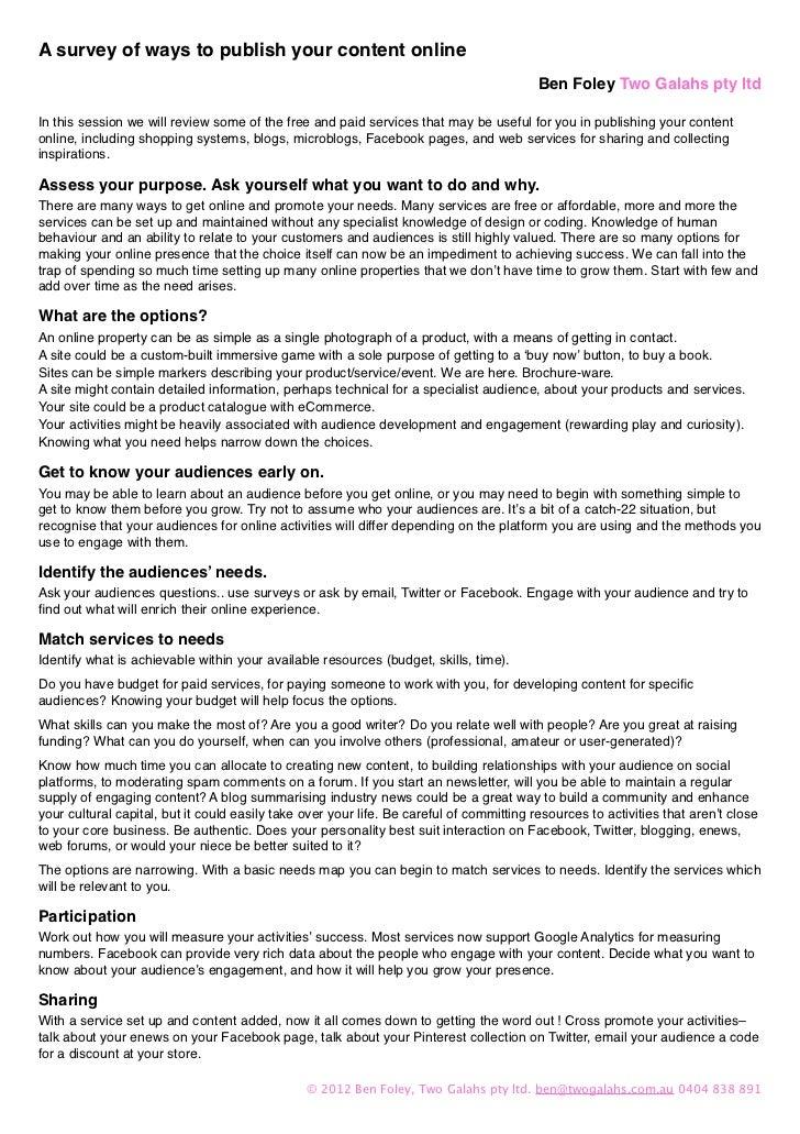 A survey of ways to publish your content online                                                                           ...