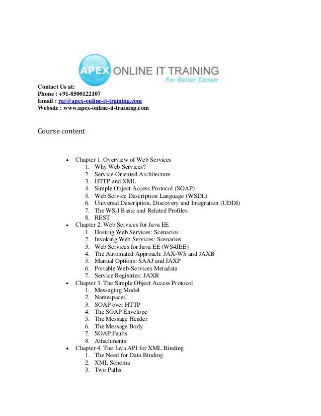 WEB-SERVICES ONLINE TRAINING COURSE CONTENT