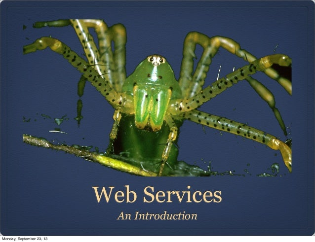 Web Services An Introduction Monday, September 23, 13