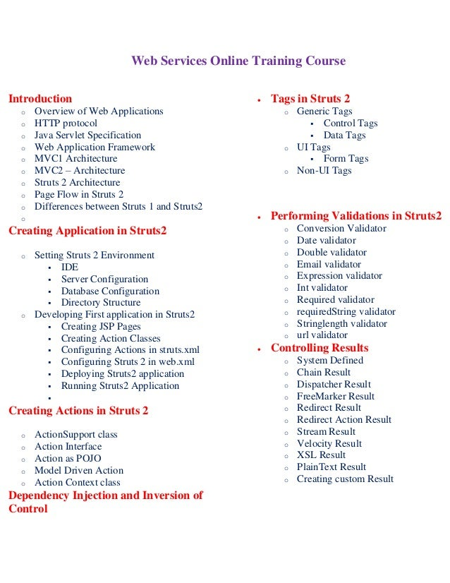Web services online training course