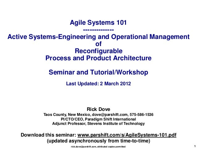 Agile Systems 101                       --------------Active Systems-Engineering and Operational Management               ...