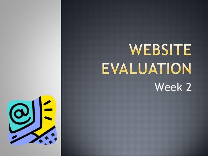 Website Evaluation (Week 2)