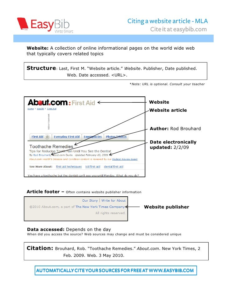 Citing a website article - MLA                                                                       Cite it at easybib.co...