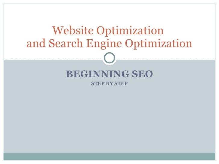 Website Optimization -SEO - Step By Step